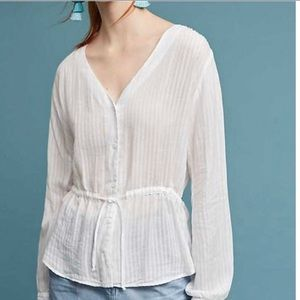 Anthropologie Cloth and Stone White Tie-Waist Top
